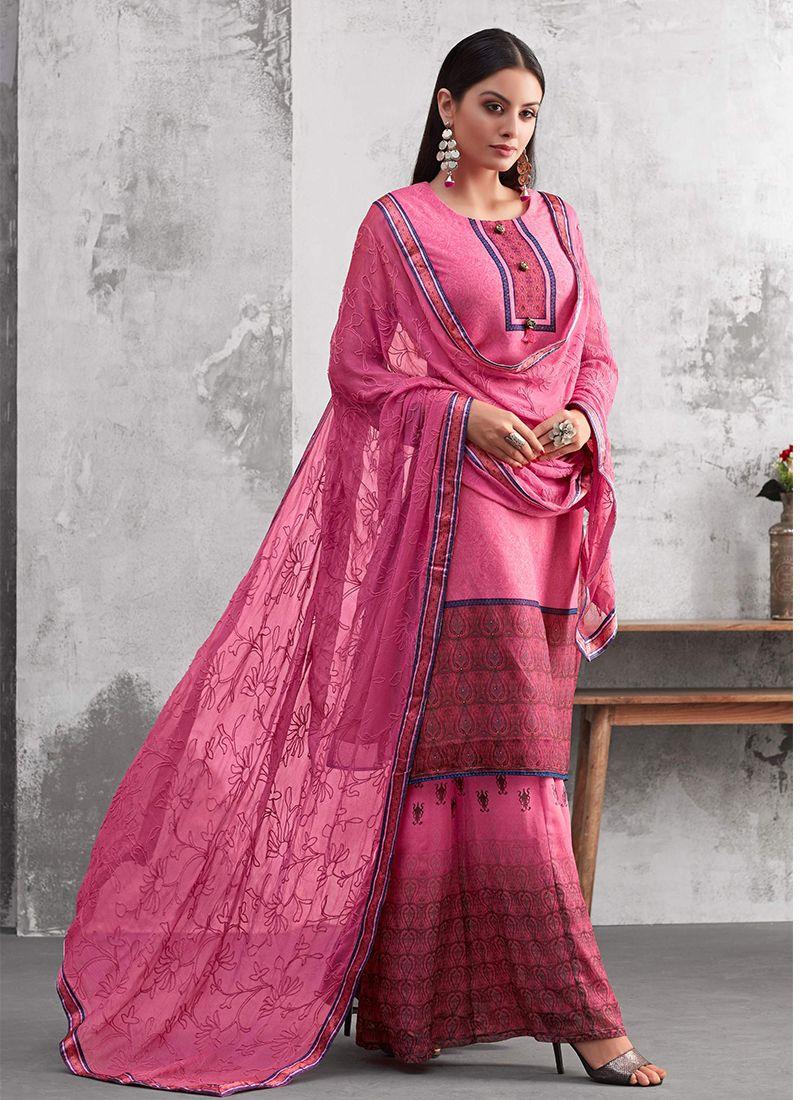 48c0ce084f Buy Online Georgette Thread Work Designer Palazzo Salwar Kameez : 89529 -