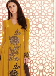 Georgette Yellow Anarkali Salwar Kameez