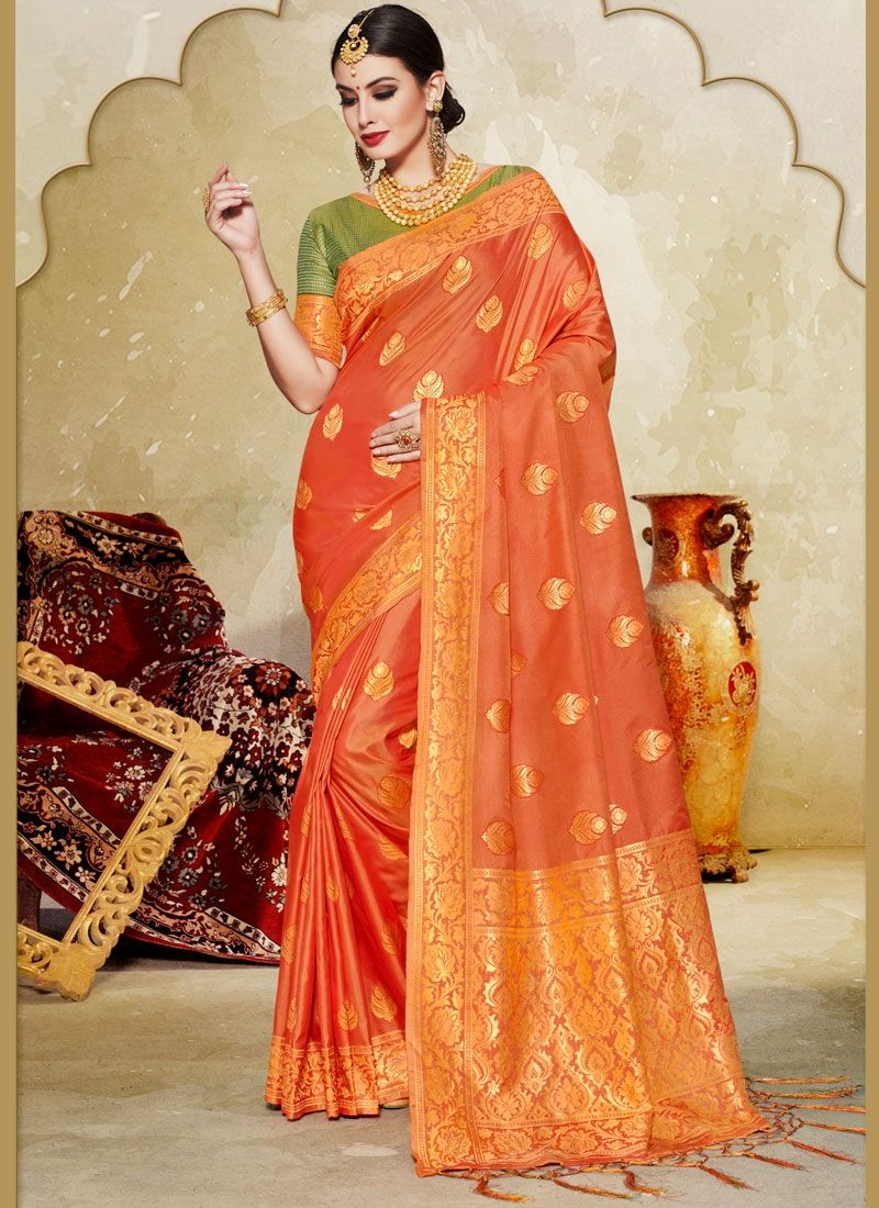 d56d1dc2acdb0 Glam Orange Color Printed Silk Saree -
