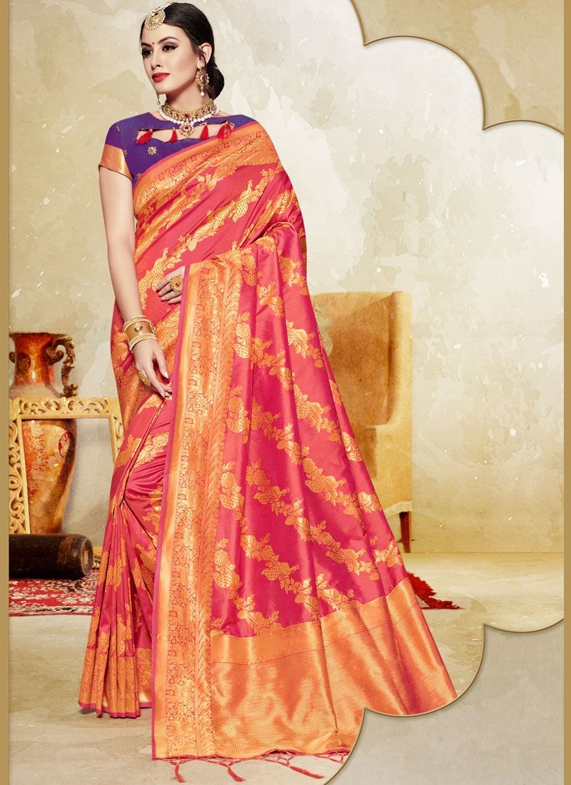 c26cab49650324 Glittering Pink Color Printed Silk Saree -