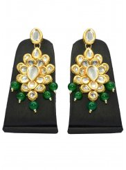 Gold and Green Moti Sangeet Ear Rings