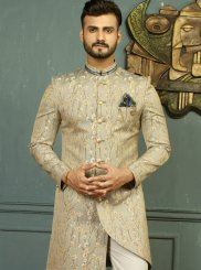 Gold and Grey Embroidered Wedding Indo Western