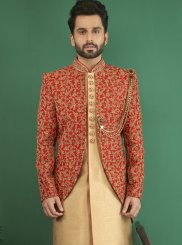 Gold and Maroon Sangeet Indo Western