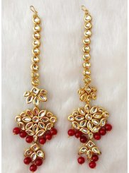 Gold and Red Ear Rings