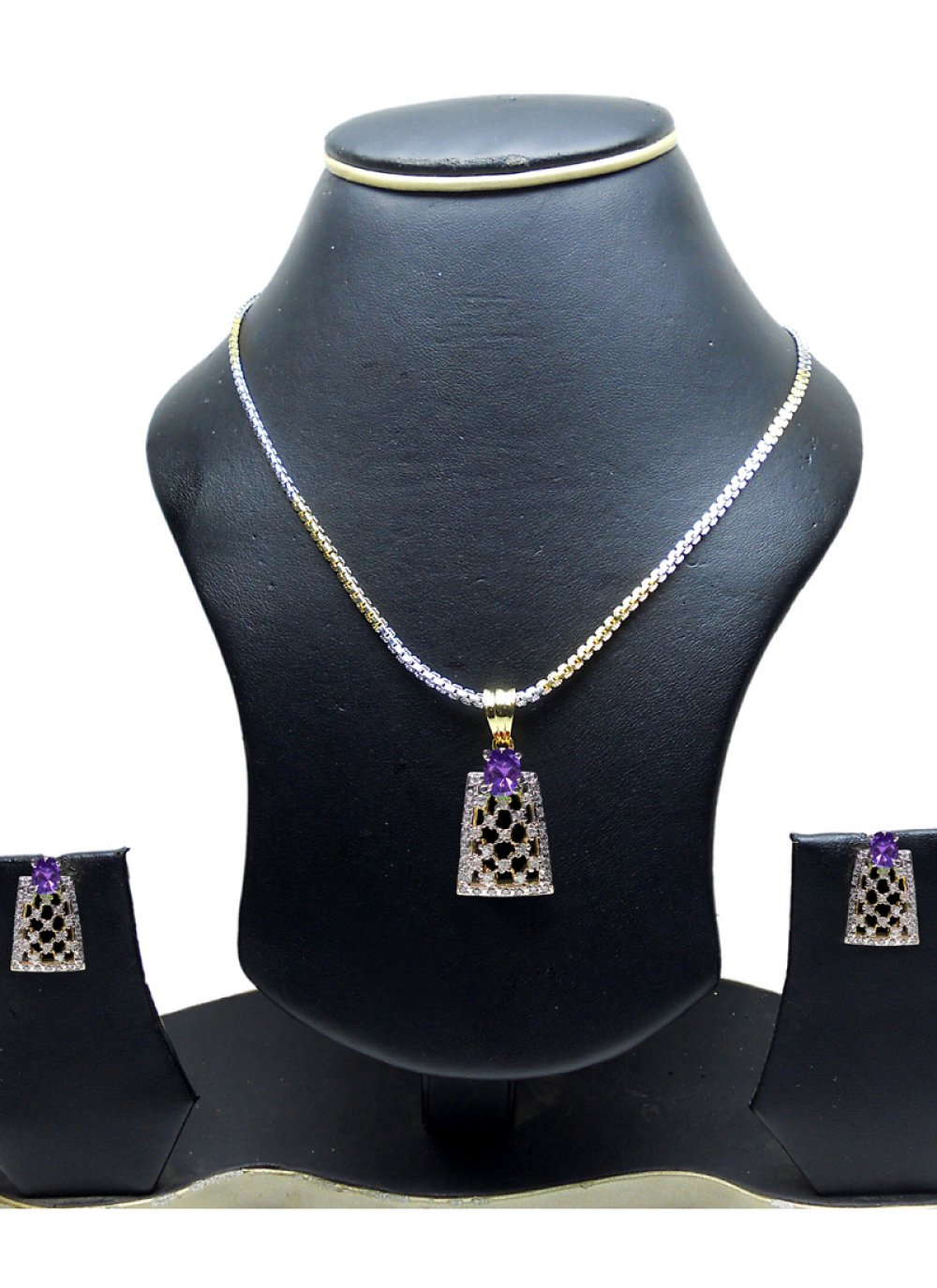 Gold and Silver Diamond Party Pendant Set