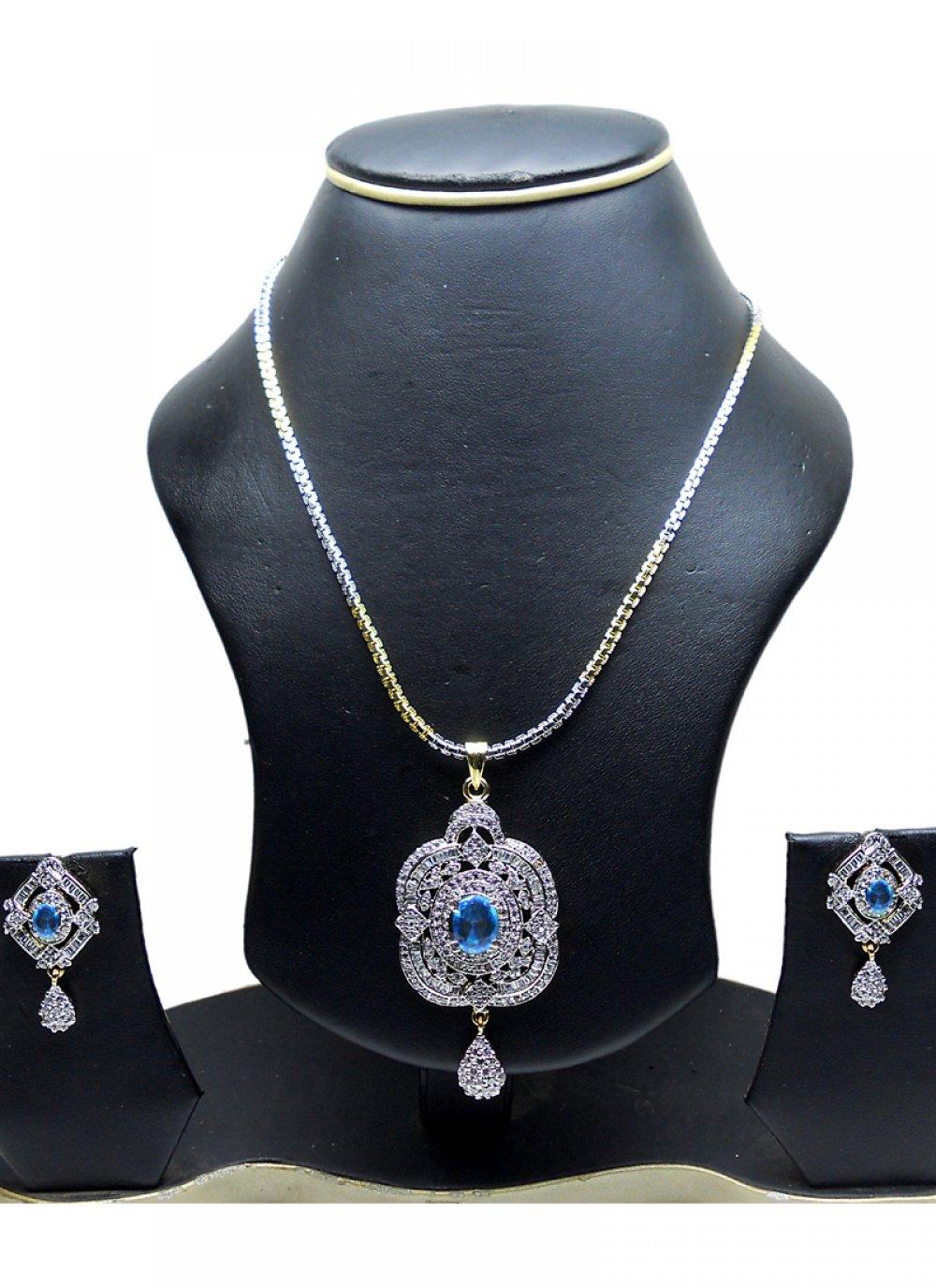 Gold and Silver Diamond Pendant Set