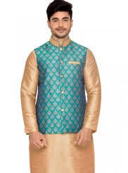 Gold Art Silk Kurta Payjama With Jacket with Plain