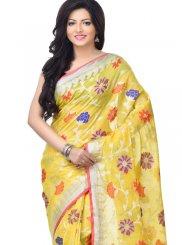 Gold Banarasi Silk Party Classic Designer Saree