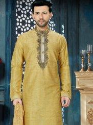 Gold Banglori Silk Embroidered Kurta Pyjama