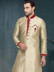Gold Buttons Work Jacquard Silk Kurta Pyjama