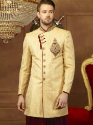 Gold Embroidered Jacquard Indo Western