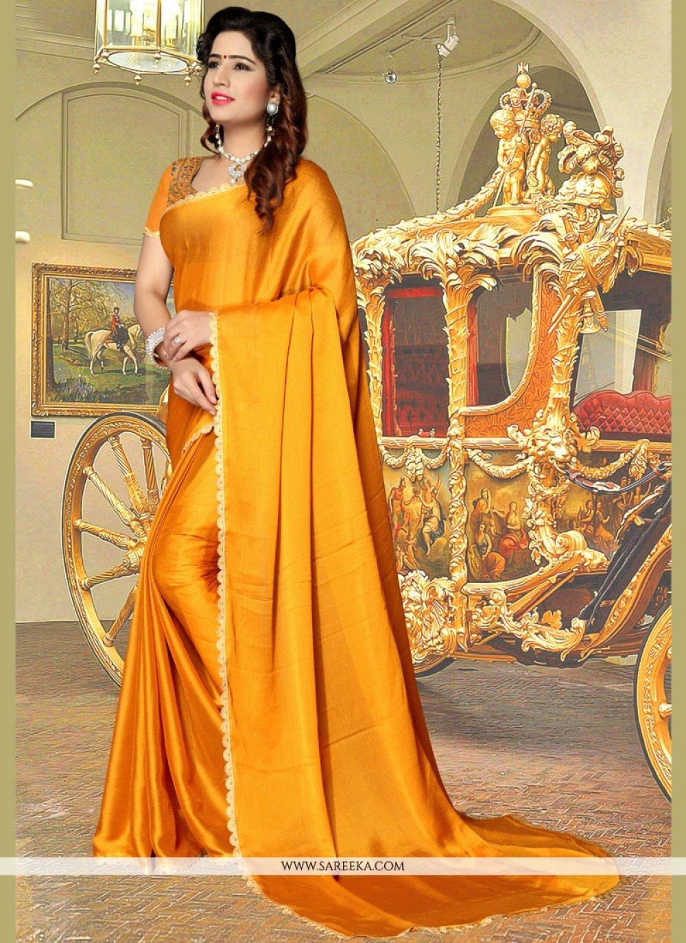 Gold Lace Work Casual Saree