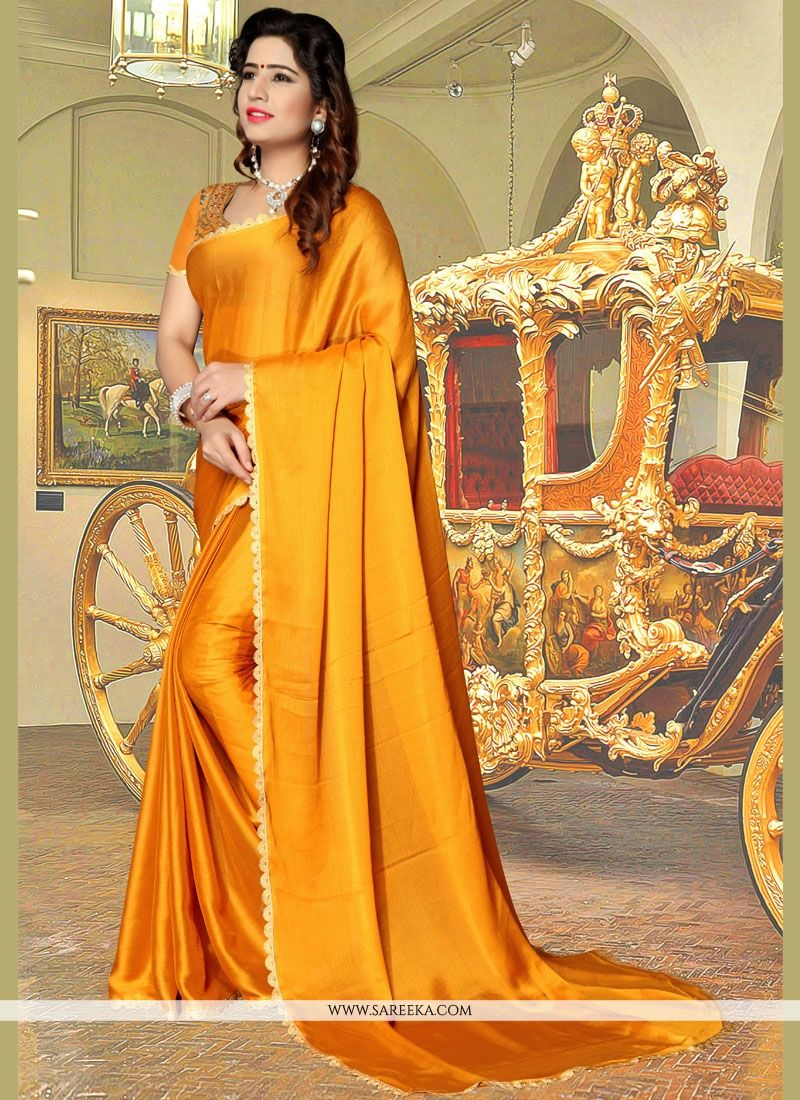 Gold Lace Work Casual Saree
