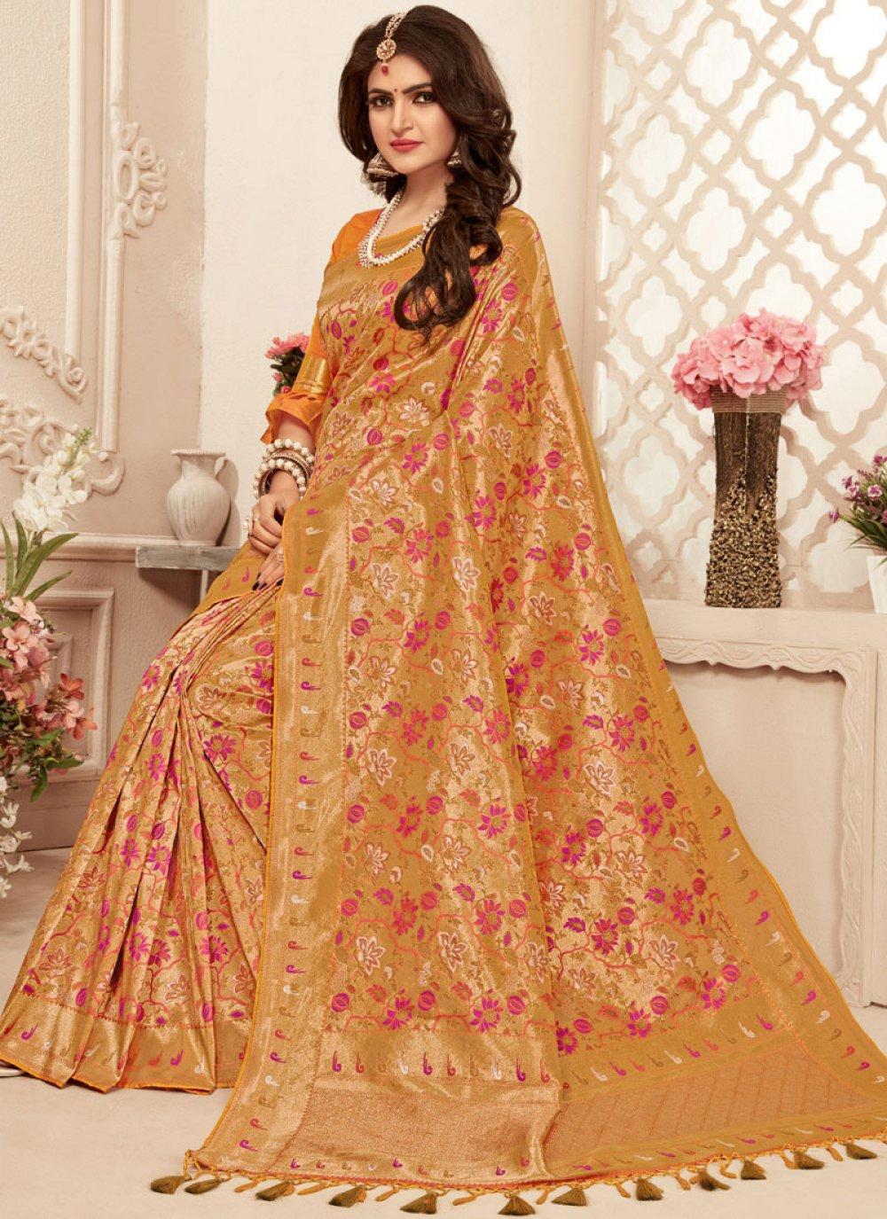 Gold Mehndi Banarasi Silk Trendy Saree