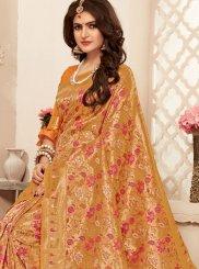 Buy Online Gold Mehndi Banarasi Silk Trendy Saree