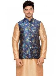 Gold Plain Work Brocade Kurta Payjama With Jacket