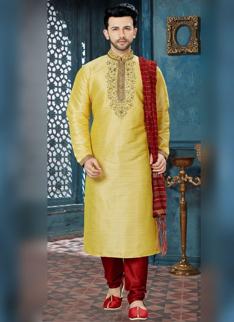 Gold Sangeet Banglori Silk Kurta Pyjama