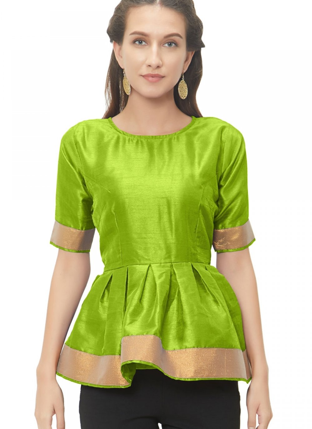 Good-Looking Green Color Readymade Blouse