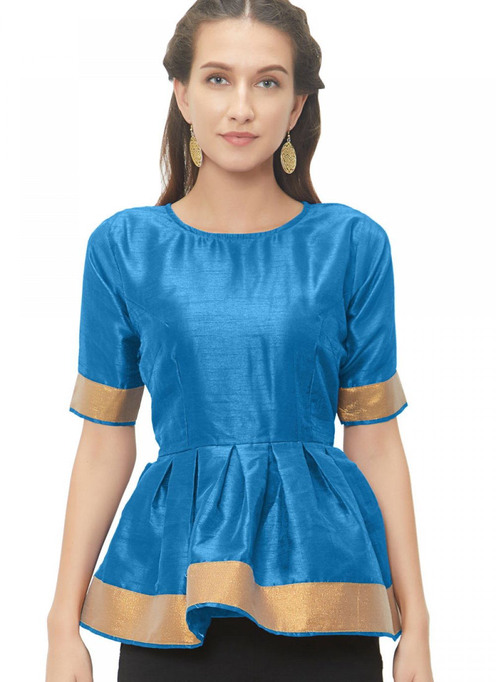 Graceful Turquoise Readymade Blouse With Lace Work