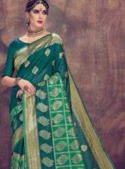 Green Abstract Print Ceremonial Classic Saree