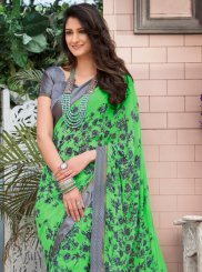 Green Abstract Print Printed Saree