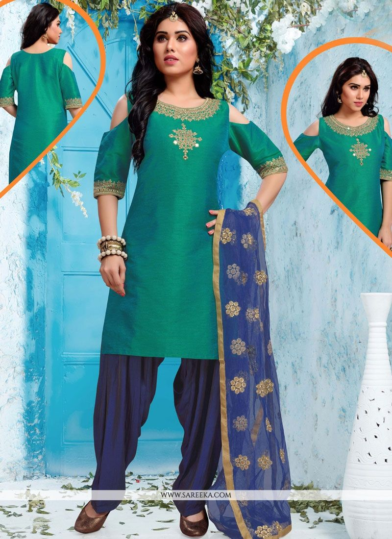 Green and Navy Blue Embroidered Work Art Silk Readymade Suit