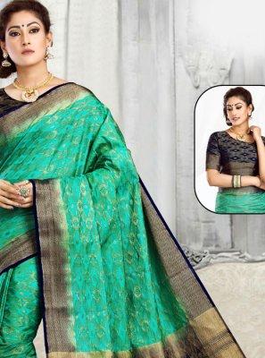 Green and Navy Blue Tussar Silk Classic Designer Saree
