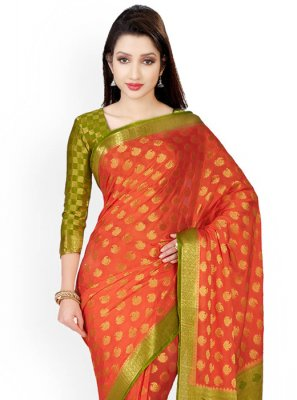 Green and Orange Classic Saree