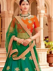 Green and Orange Embroidered Bridal Lehenga Choli