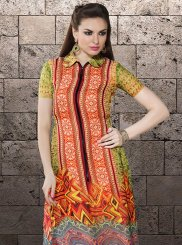 Green and Orange Printed Casual Kurti