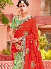 Green and Orange Silk Sangeet Half N Half Designer Saree