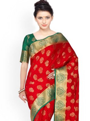 Green and Red Weaving Work Kanchipuram silk Classic Designer Saree