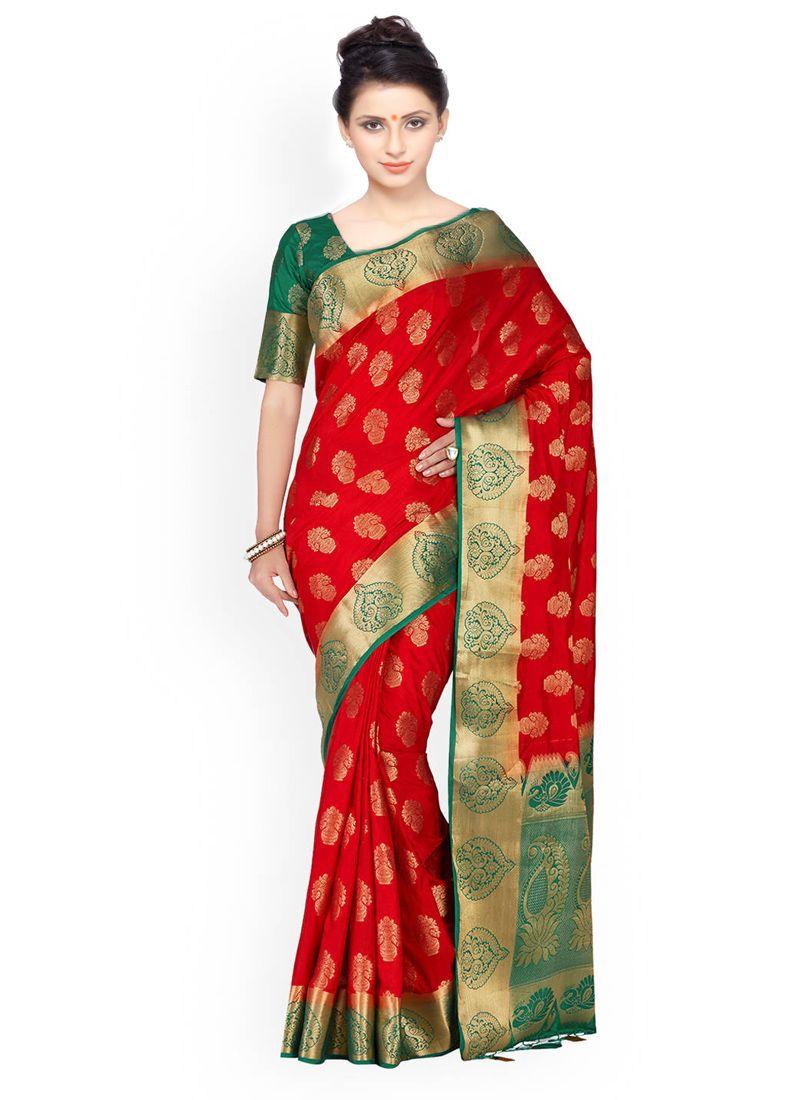 Green and Red Weaving Work Kanchipuram silk Classic Designer Saree