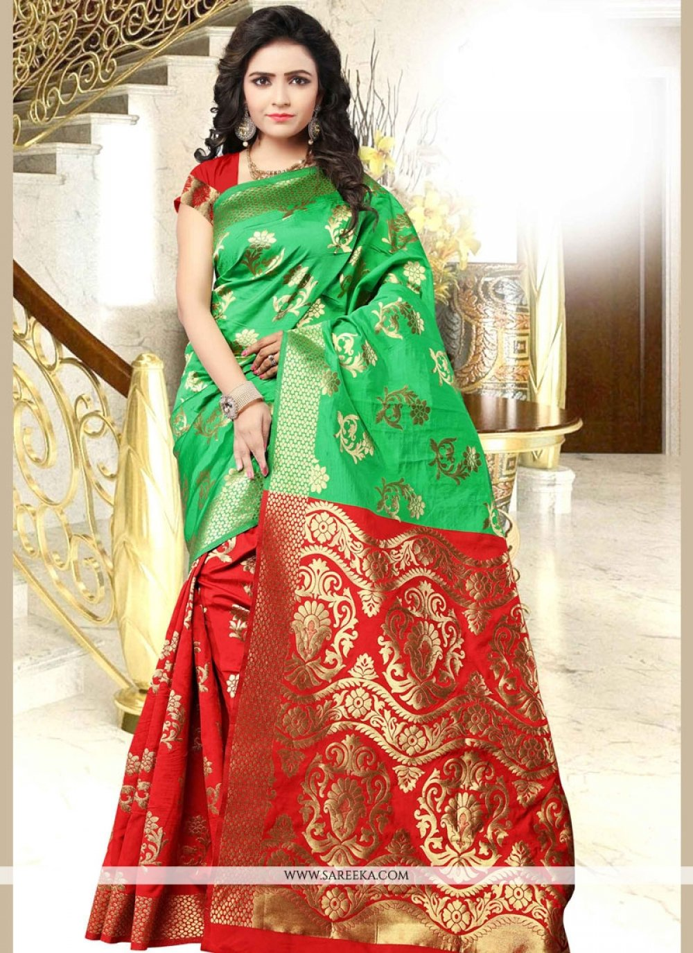 Green and Red woven Work Art Silk Traditional Designer Saree