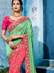 Green and Rose Pink Half N Half Designer Saree