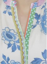 Green and White Cotton   Printed Casual Kurti