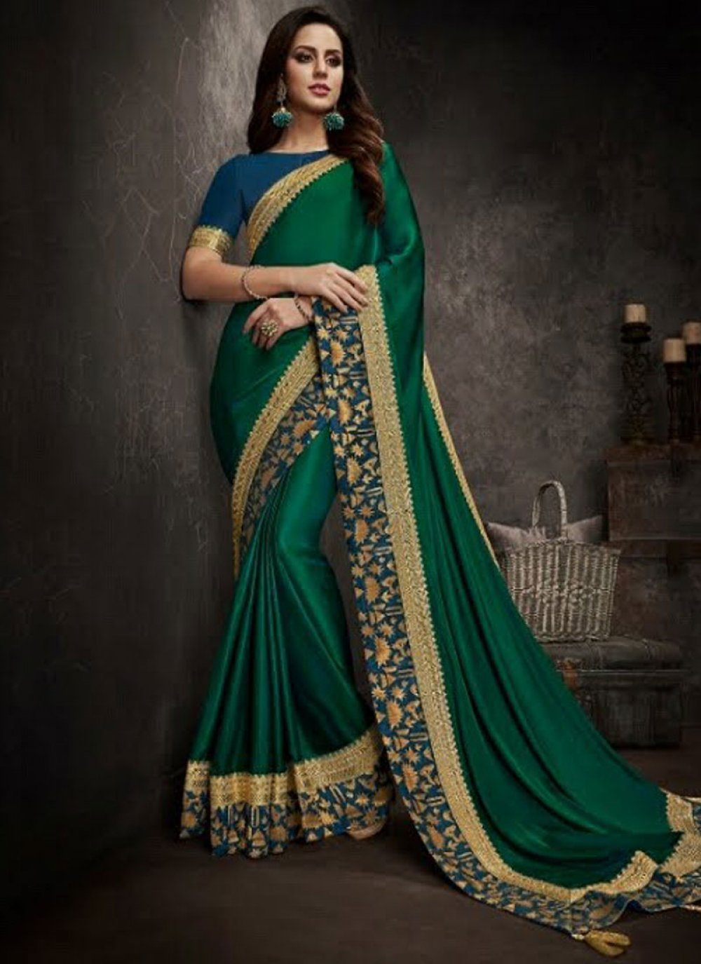 Green Art Silk Embroidered Traditional Designer Saree