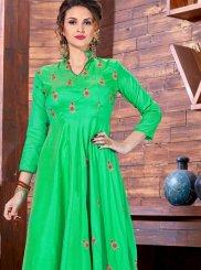 Green Art Silk Readymade Gown