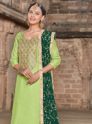 Green Art Silk Resham Churidar Designer Suit
