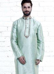 Green Art Silk Sangeet Kurta Pyjama