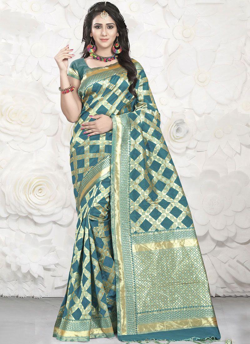 Green Banarasi Silk Designer Saree