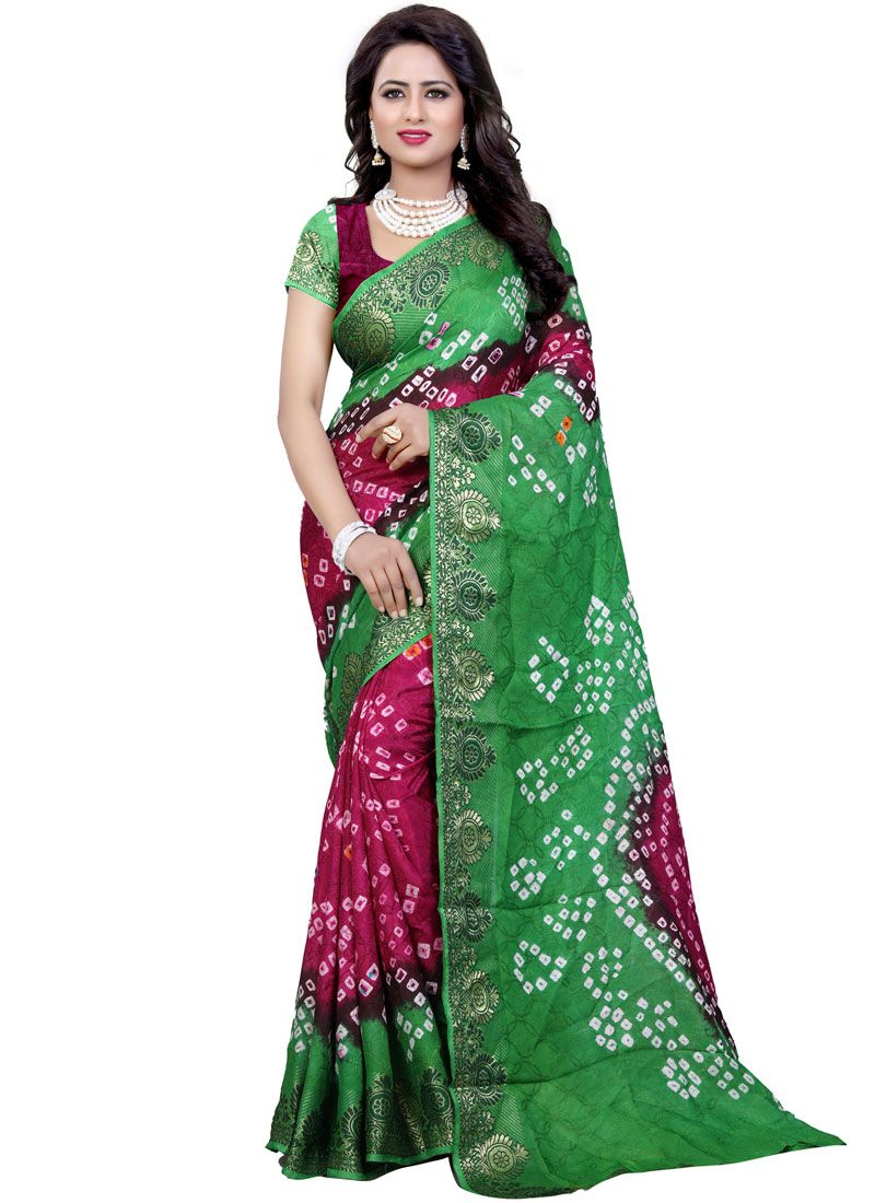 e0911cc891 Green Bandhej Work Art Silk Bandhani Saree buy online -