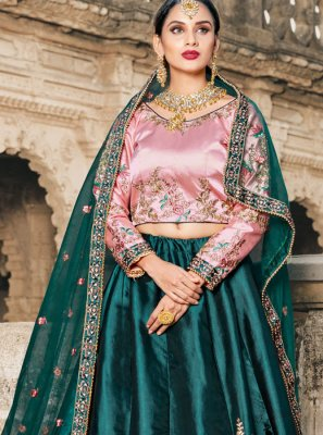 Green Bridal Satin Lehenga Choli