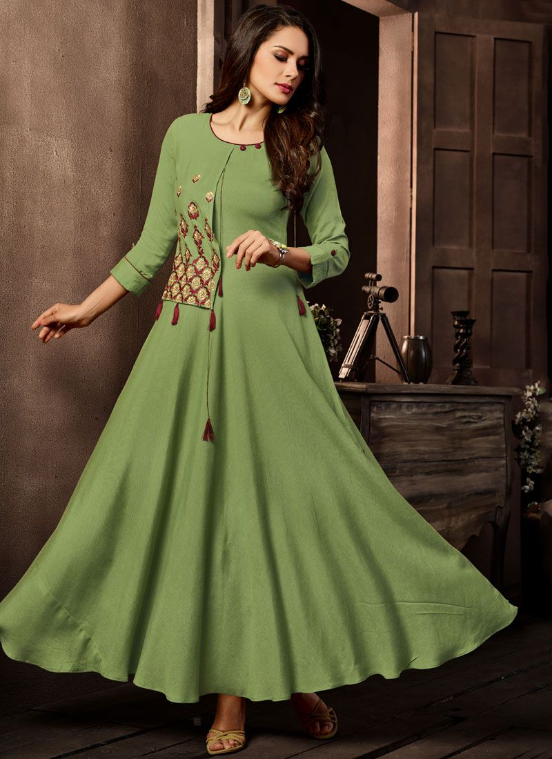 Green Casual Cotton   Casual Kurti