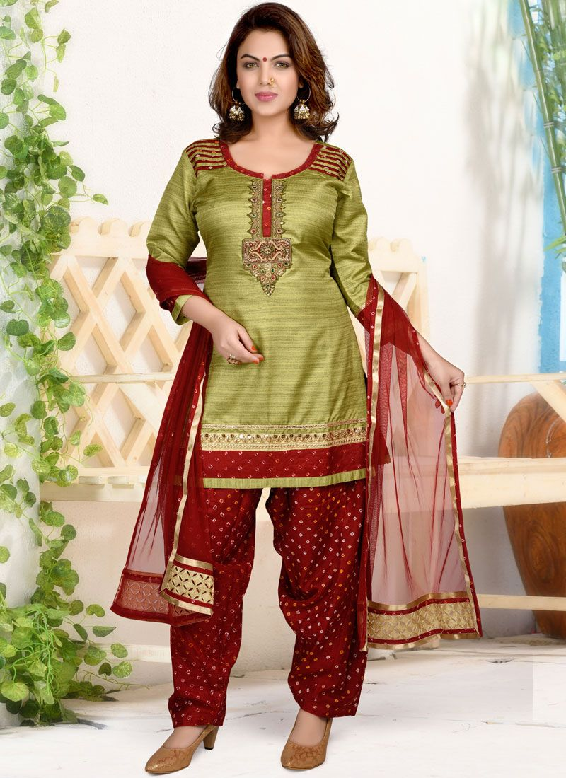 Green Ceremonial Dupion Silk Patiala Salwar Suit