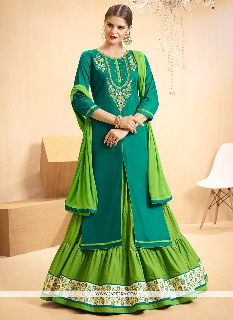 Green Cotton   Long Choli Lehenga