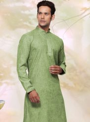 Green Cotton   Plain Work Kurta Pyjama