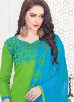 Green Cotton Satin Churidar Suit