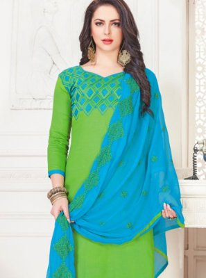 Green Cotton Satin Churidar Suit