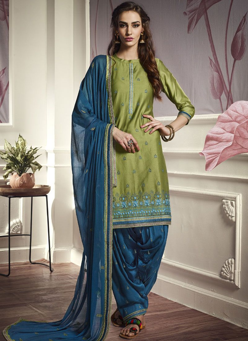 Green Cotton Satin Party Punjabi Suit